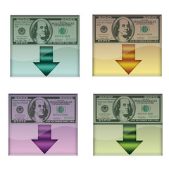 Set of download buttons with american banknote,isolated