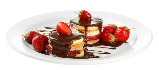 Tasty biscuit cakes with chocolate and berries
