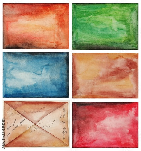 Abstract background, watercolors on paper