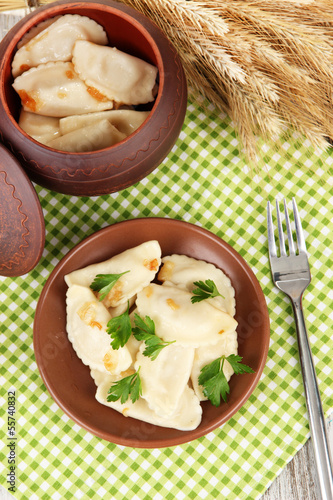 Tasty dumplings with fried onion