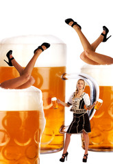 crazy oktoberfest style with sexy legs and beer