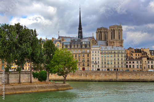 Notre Dame de Paris and parisian buildings.
