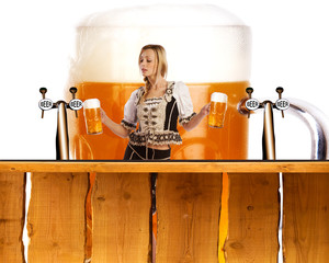 crazy oktoberfest style with sexy tiroler girl serving beer