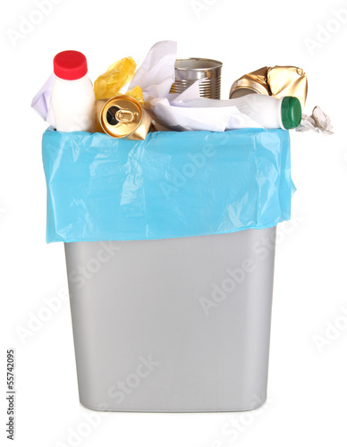 Bin full of rubbish isolated on white