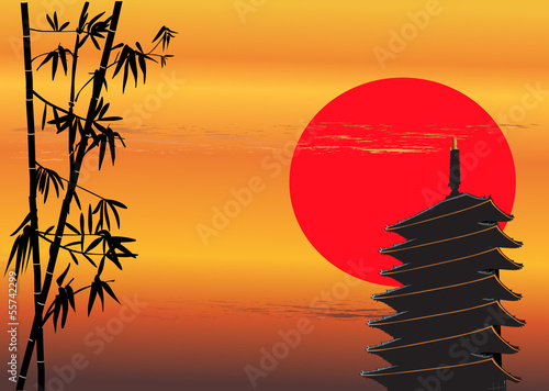 bamboo and pagoda at red sunset
