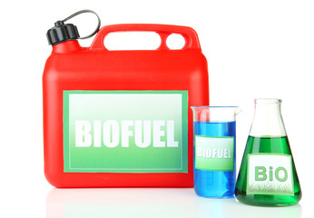 Bio fuels in canister and vials isolated on white