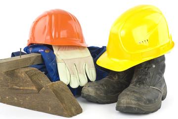 Arbeitsschutzbekleidung eines Bauarbeiters