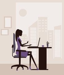 Woman  working on  laptop. Vector