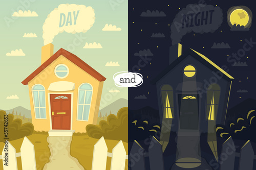 Day and hight. Vector illustration.