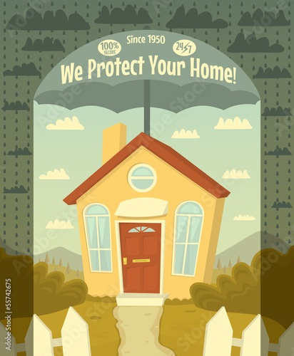 We protect your home. Vector illustration.