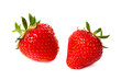 Two strawberry isolated on a white
