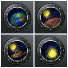 Quatre hublots ronds pour ouvrir l'espace, planètes, le soleil et étoiles,