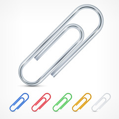 Metallic color paperclips isolated on white background, vector