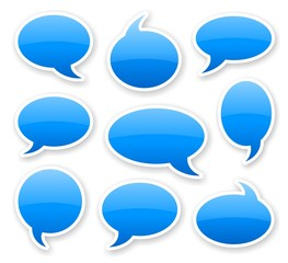 stickers of blue glossy rounded comics text bubbles