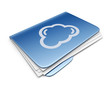 Cloud folder. File storage concept. 3D Icon isolated