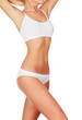 Slim woman in white underwear, copyspace