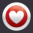 Heart button. Vector red round sticker.