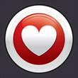 Heart button. Vector red round sticker.