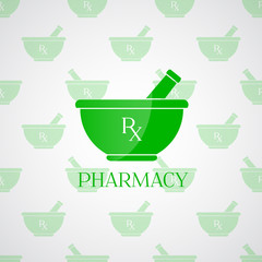 Pharmacy background - mortar in green color