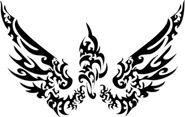 angle wing for tattoo design