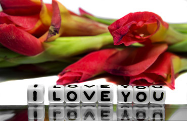 I love you with red flowers