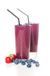 Two glasses of fresh organic berry smoothie