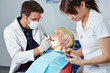 Dental assistant during apprenticeship at treatment