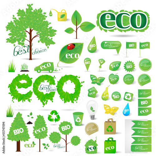 Collection Of Ecology Icons - Isolated On White
