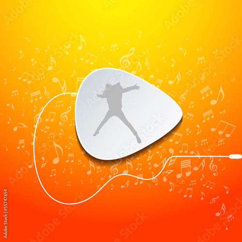 Pick guitar music design on orange background