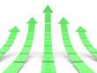 Rising green arrows 3D