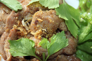 Fried pork spices in the dish.