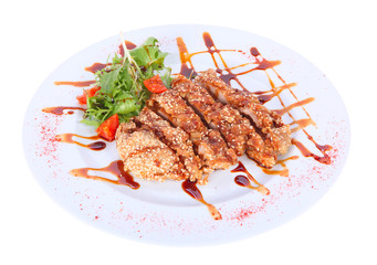 Grilled meat breaded with sesame seeds
