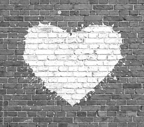 grunge background with abstract heart - 55748607