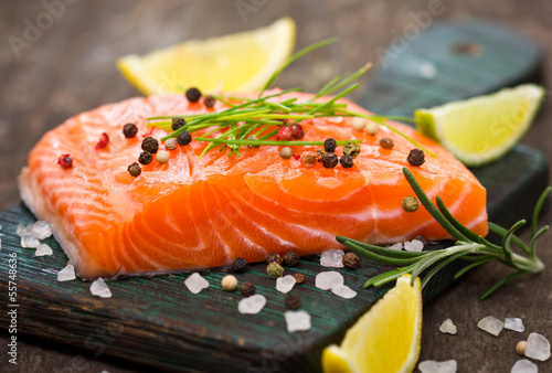 Deurstickers Vis Fresh salmon