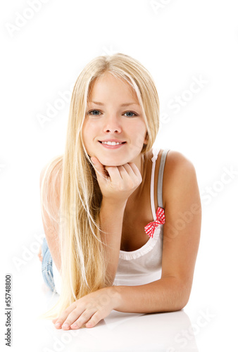teen girl beautiful blond cheerful enjoying
