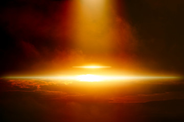 Ufo in dark sky