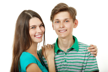 Caucasian teens young cheerful sister and brother