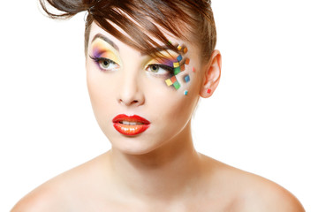 young attractive woman with beautiful art cube abstract make-up