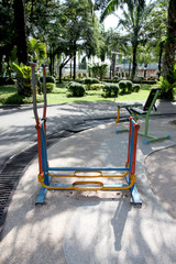 Exercise equipment in the park.