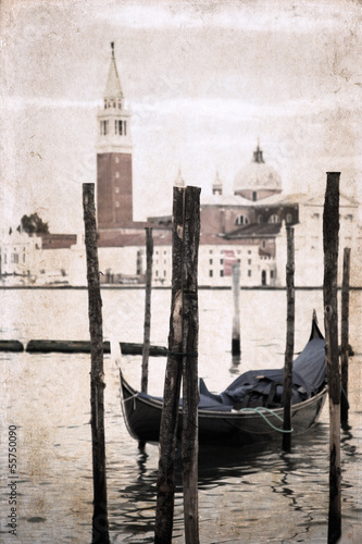 Plexiglas Gondolas artwork in retro style, Venice