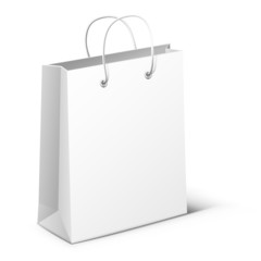 White bag on white background