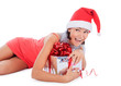 Santa woman lie with gift box over white