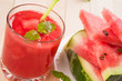 Fresh watermelon juice with pieces of fruit