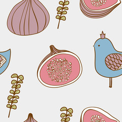 Cute seamless pattern with birds and figs