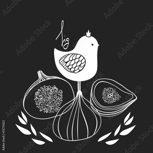 Cute bird with figs. Vector illustration