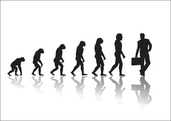 Evolution businessman looking back