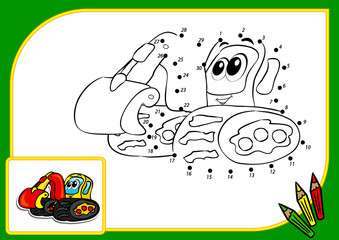 Coloring book dot to dot excavator