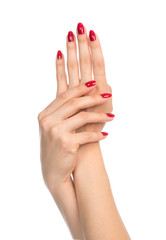 Woman hands with red manicure nails