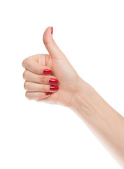 hand thumb up with manucure red nails