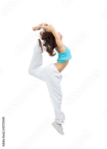pretty modern slim hip-hop style teenage girl jumping